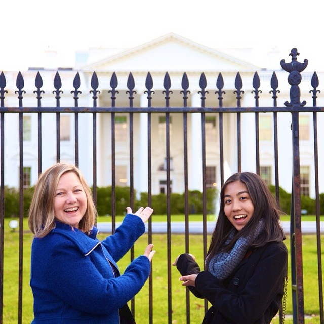 WriteGirl Executive Director Keren Taylor and Jacqueline Uy outside the White House