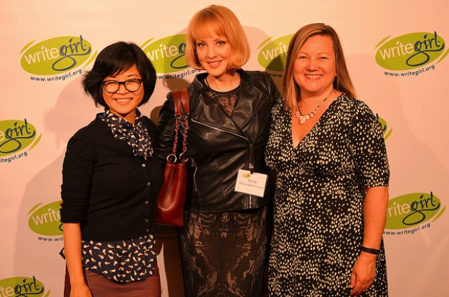 Keiko Agena (Gilmore Girls) & Wendi Mclendon-Covey (Bridesmaids) walk the red carpet with Keren taylor at Lights, Camera, WriteGirl!