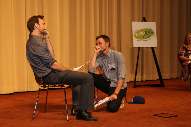 Actors  Trevor St. John  ( Bourne Ultimatum ) and  Wilson Bethel  ( Hart of Dixie ) perform our girls' scenes at Lights, Camera, WriteGirl!