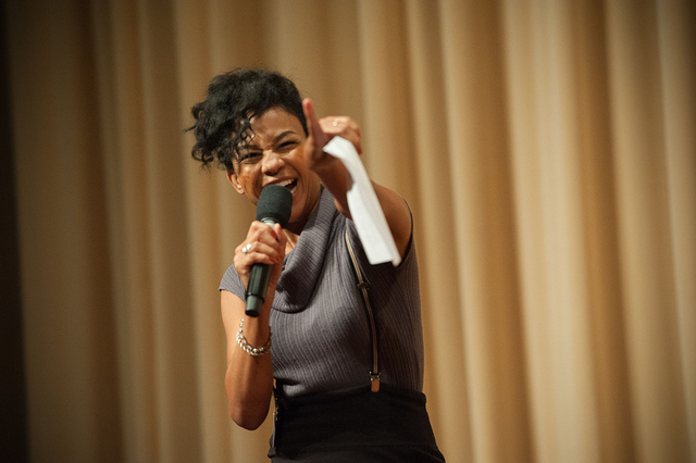 Actor Aasha Davis (Friday Night Lights) performed our girls' scenes at Lights, Camera, WriteGirl!