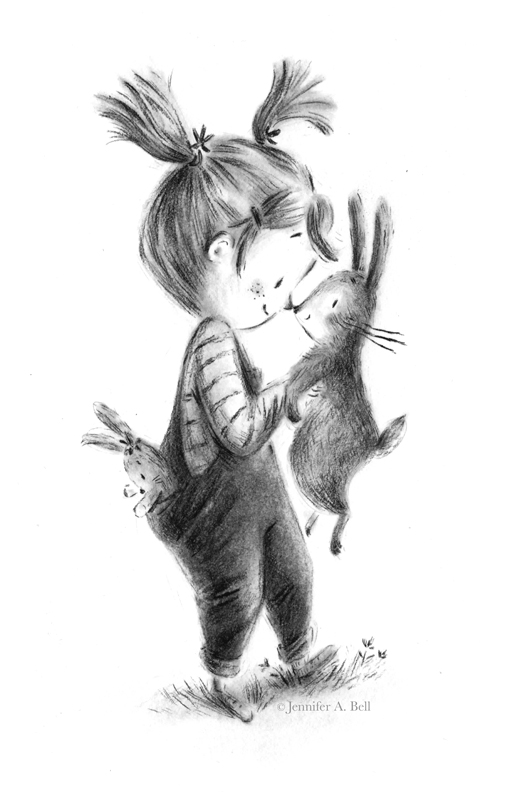 girl and rabbit. Illustration by Jennifer A. Bell