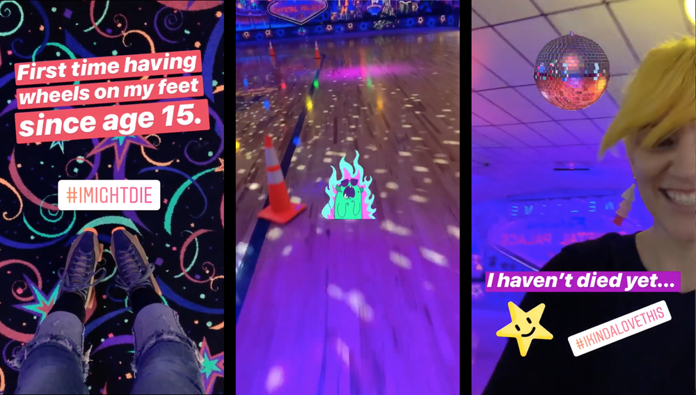 3 panels from my roller skating experience left to right: 1. Fear with skates on. 2. Still shot of skater-view on the skate floor. 3. Still from a mid-skate selfie video.