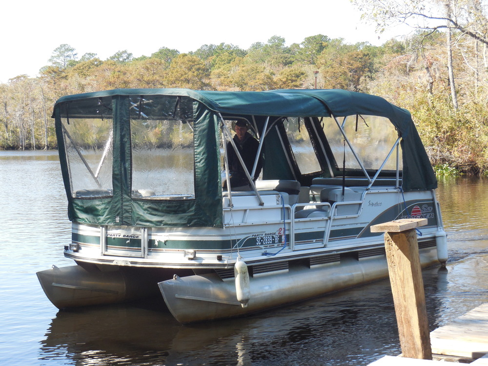 6-Passenger Pontoon at Waccamaw River Tours.  Private 1hr narrated tours are available.