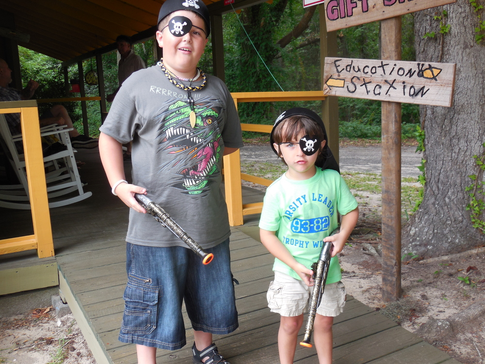 These young guest had fun playing pirates on the property before their boat tour.  Pirate hats, eye patches and flintlocks are available for purchase in the Gift Shop at  Waccamaw River Tours.