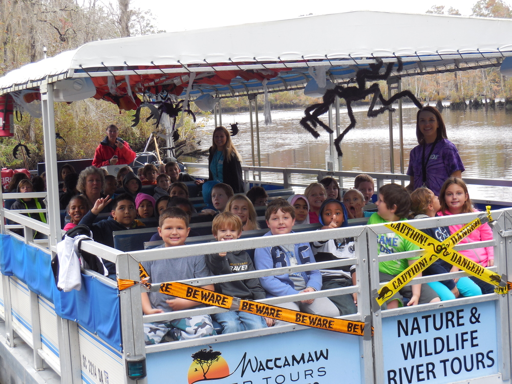 River Oaks Elementary 3rd graders are ready for a Nature & Wildlife River boat tour.   They learned about rivers & swamps, wildlife along the river,  rice plantations, Indians, European Colonist, and more in a fun environment.  Oct, 2014