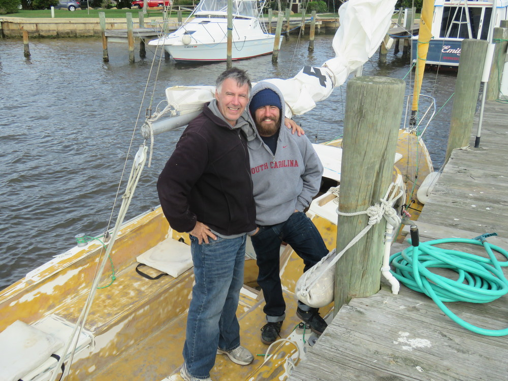 "Rick Langian and Brody Lanigan tie ""Religion"" up at the Seven Seas Boatyard docks. 01/2015"