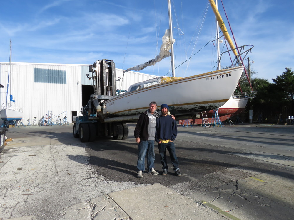 "Rick & Brody Lanigan:  ""Religion"" is pulled out of water.  Time to work on her keel and hull.  01/15"