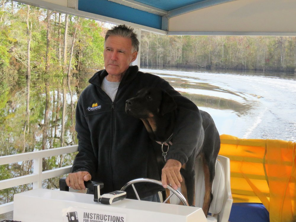 Capt. Rick Lanigan and River.  She is his best mate.  Leaving Waccamaw River Tours heading south on ICW towards Florida.  Oct 27, 2016