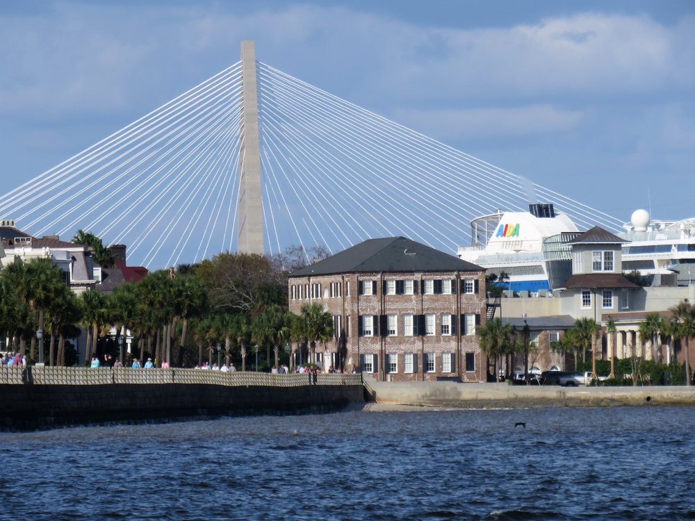 Charleston, SC.  Battery with the bridge and cruise ship in background.  Day 1 Oct 27, 2016Photo by Kim Carlson