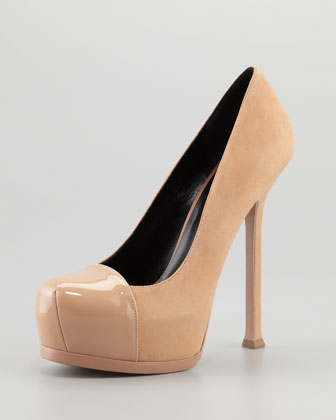 Tribute Two-Patent Cap Suede Pump- $887