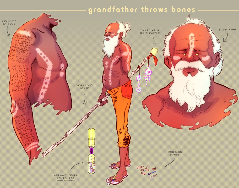 Grandfather Throws Bones