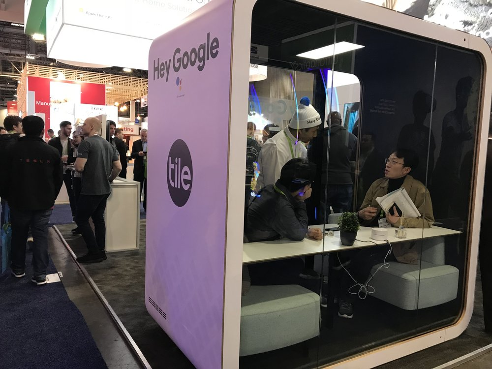Hey Google pod at Tile booth
