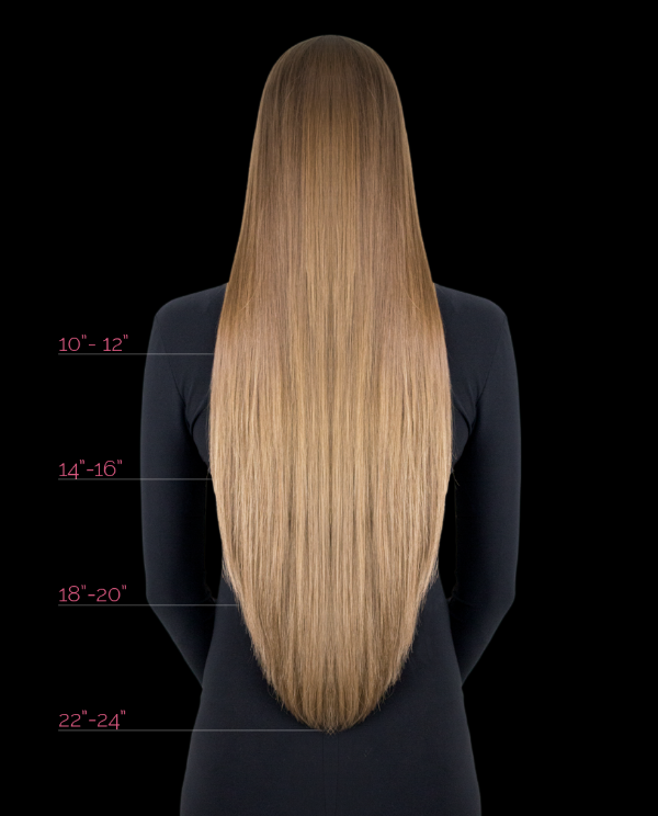 "Length Chart Hotheads Extensions come pre-layered in their packaging. Our shortest length has strands that range between 10"" to 12"" for a natural and tapered appearance. The same applies to all other extension lengths. Because of this, blending is made very simple, with minimal trimming necessary. Hotheads Extensions are offered in:  10"" – 12"" / 30cm 14""-16"" / 40cm 16""-18"" / 45cm (Fantasy Colors Only) 18""-20"" / 50cm 22""-24"" / 60cm"