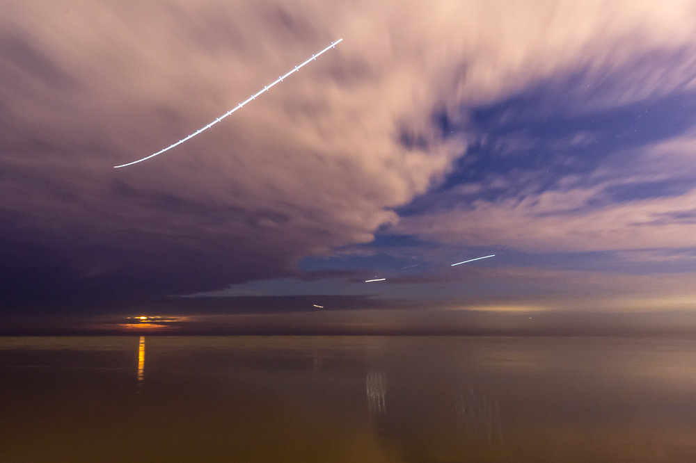 Jet Trails and Full Moon 1
