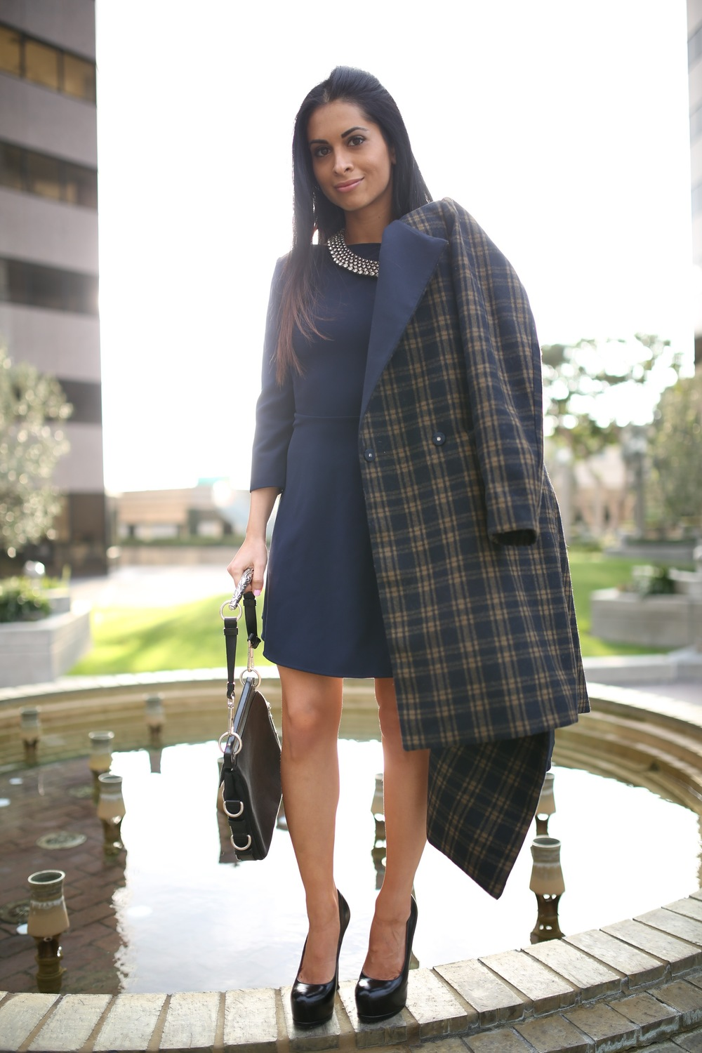 navy dress_plaid coat_ysl pumps