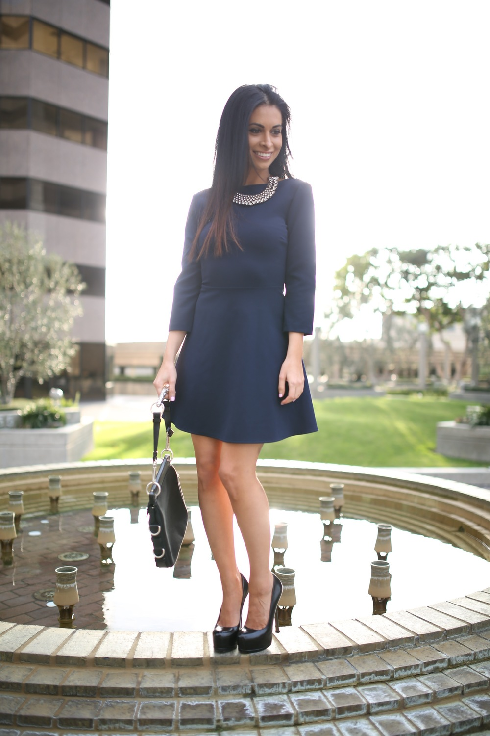 navy dress_ysl pumps
