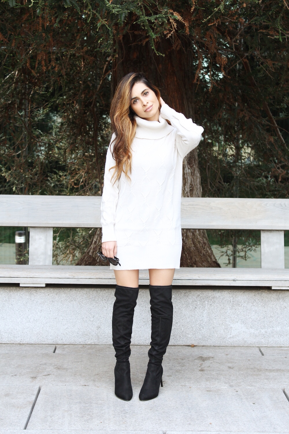 cozy sweater_savvy javvy_fashion blogger_white dress_sweater dress_balayage hair_celine sunglasses_OTK boots_over the knee high boots_ivanka trump