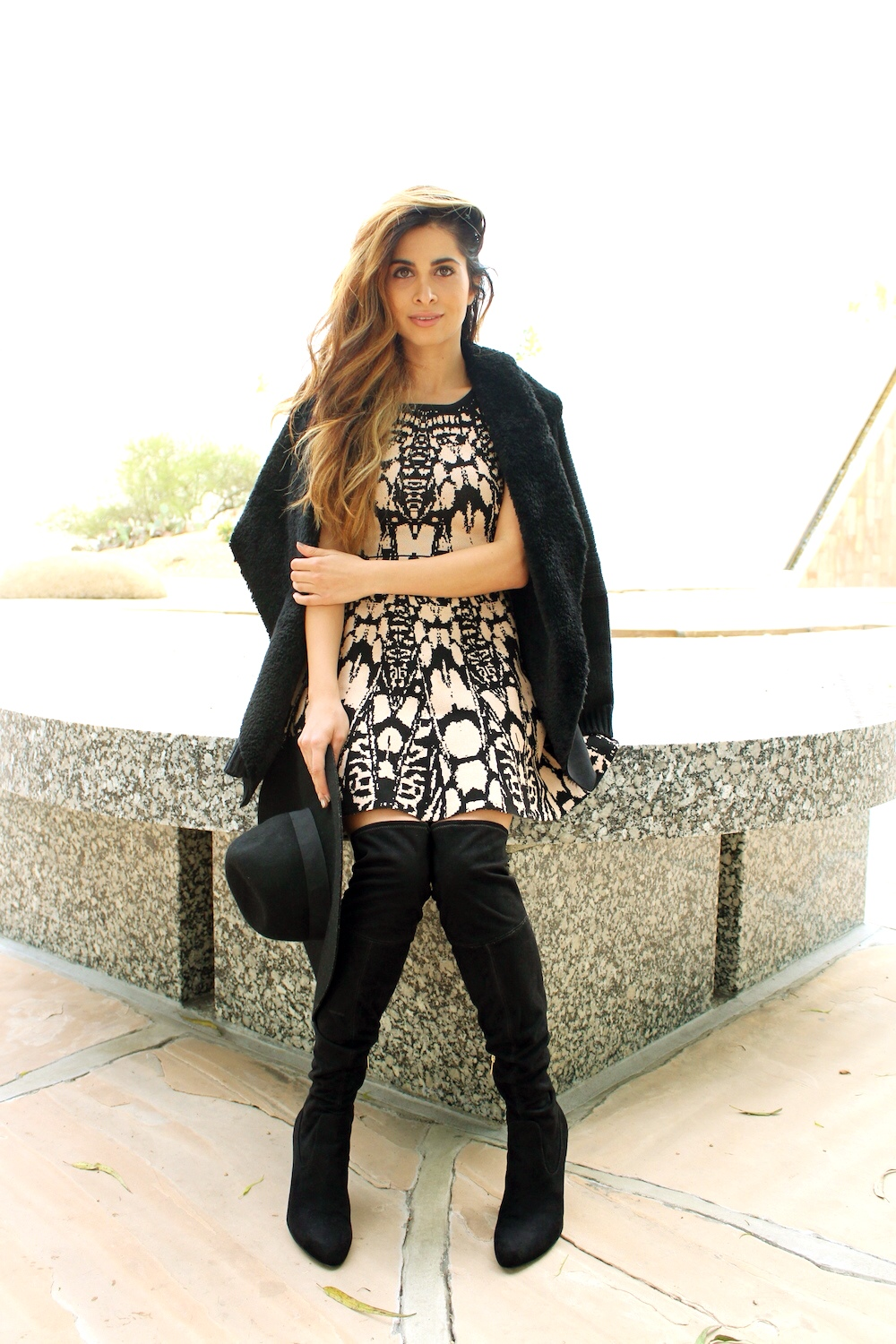 best fashion blogger_savvy navvy_matching crop top and skirt_2 piece set_Ivanka trump boots_wow couture_ami clubwear