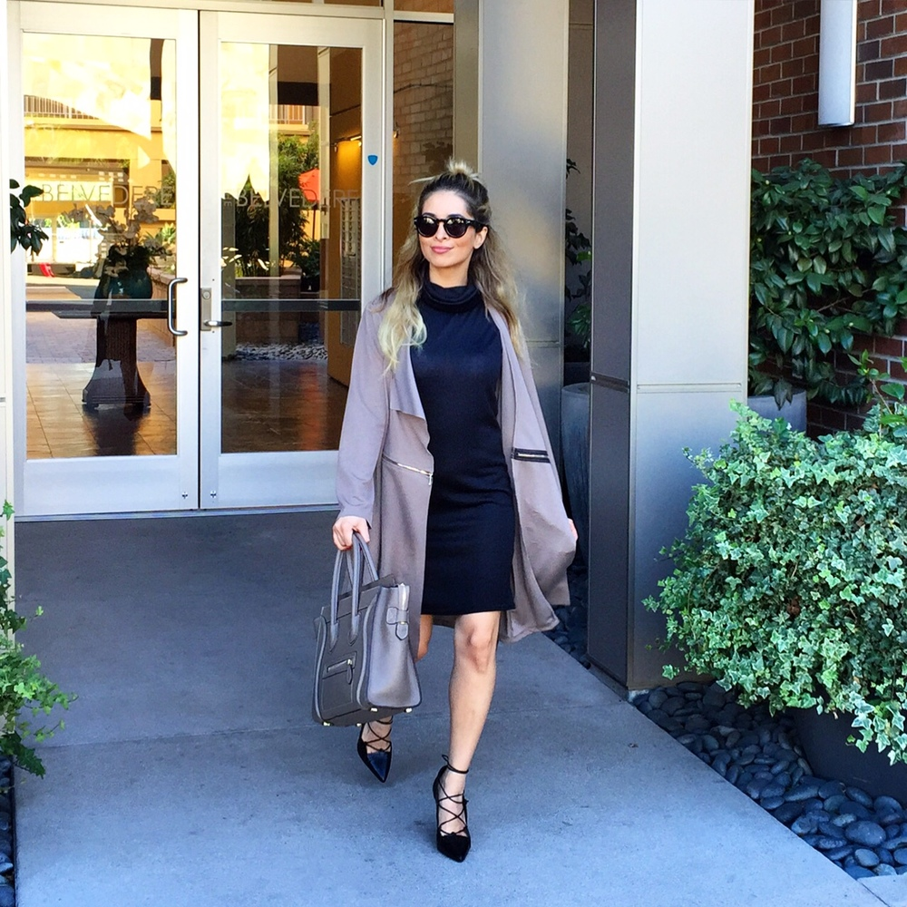 girlboss attire_savvy javvy_la fashion blogger_oc fashion blogger_office attire_what to wear to work_what to wear to an interview_celine sunglasses_celine luggage tote_lace up heels_zara lace up heels_lapel coat_black midi dress_balayage hair_top knot hair styles