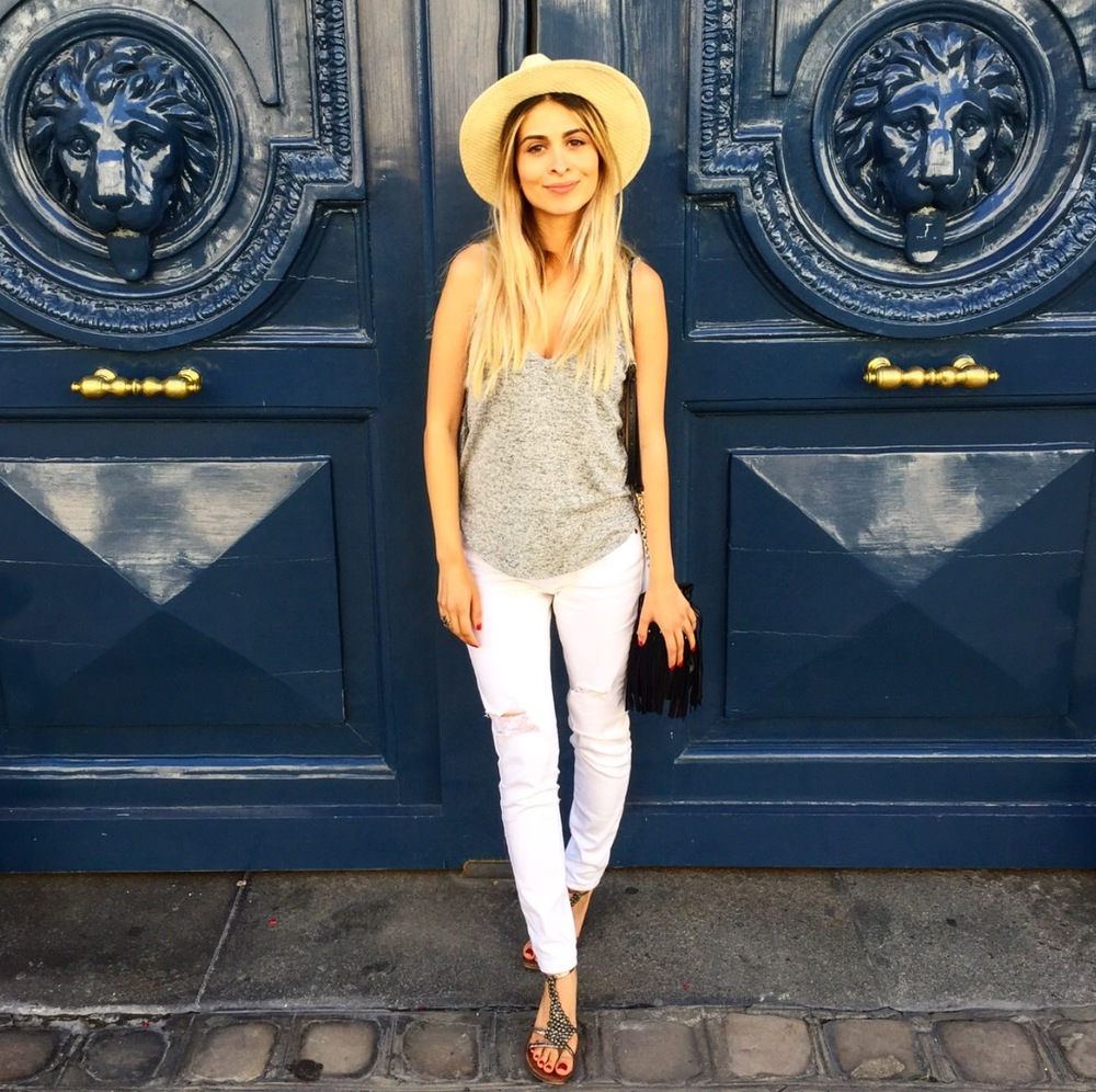 Strolling through Saint Germain and Saint Michel wearing this Riller and Fount top, Michael Stars hat, Pistola Denim, Diane Von Furstenberg fringe bag and Sam Edelman sandals.