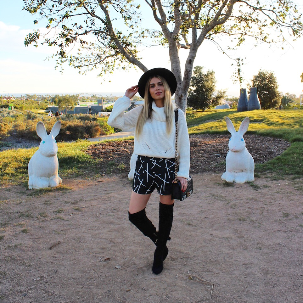 OTK boots_over the knee boots_suede boots_black otk boots_ivanka trump_savvy javvy_fashion blogger_oc blogger_newport beach_fashion island_lookbook store_chunky knit sweater_white knit sweater_turtleneck_wide brim hat_forever 21_cameo the label_cameo the label shorts_black and white outfit_winter outfit_holidays_street style_oc style_balayage hair_blonde hair_soft makeup