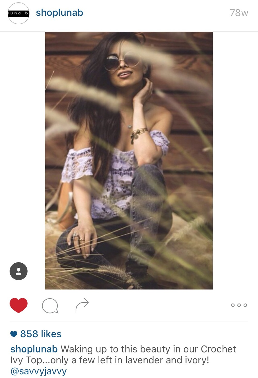 Luna B's Instagram