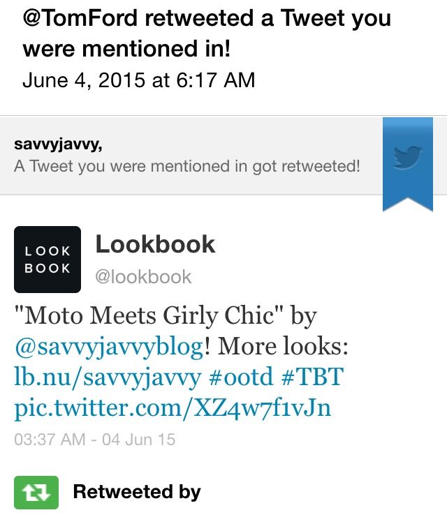 Lookbook and Tom Ford Tweeted! <3