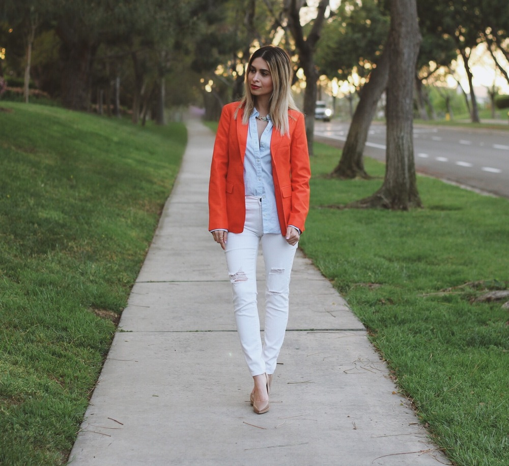 banana republic_blazer_orange blazer_red blazer_savvy Javvy_office style_corporate style_womens work wear_what to wear to work