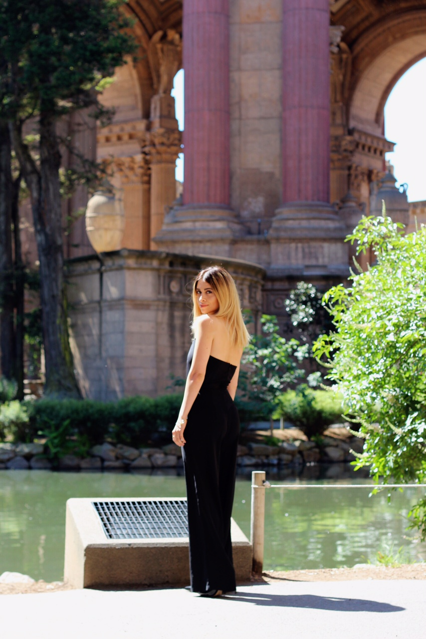palace of fine arts_san francisco_fashion blogger_sf blogger_tobi_black jumpsuit_black jumper_sexy jumpsuit_tube jumpsuit_balayage hair_what to do in SF_sf travel tips