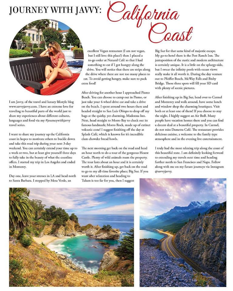 LA Magazine - Contributing Writer - #journeywithjavvy California Coast Series
