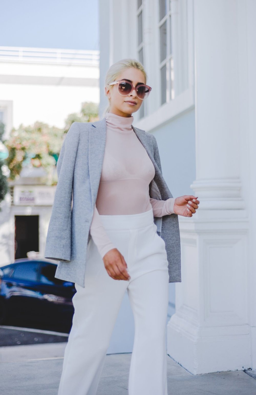 sheer blouse_blush tones_blush colored top_grey blazer_tom ford glasses_white high waisted trousers_savvy javvy_fashion blogger_la blogger_Oc blogger_NYC blogger_icy blonde hair_kim kardashian hair_olsen twin hair_Kim blonde hair_santa monica_street style_la streetstyle_best la fashion blogger