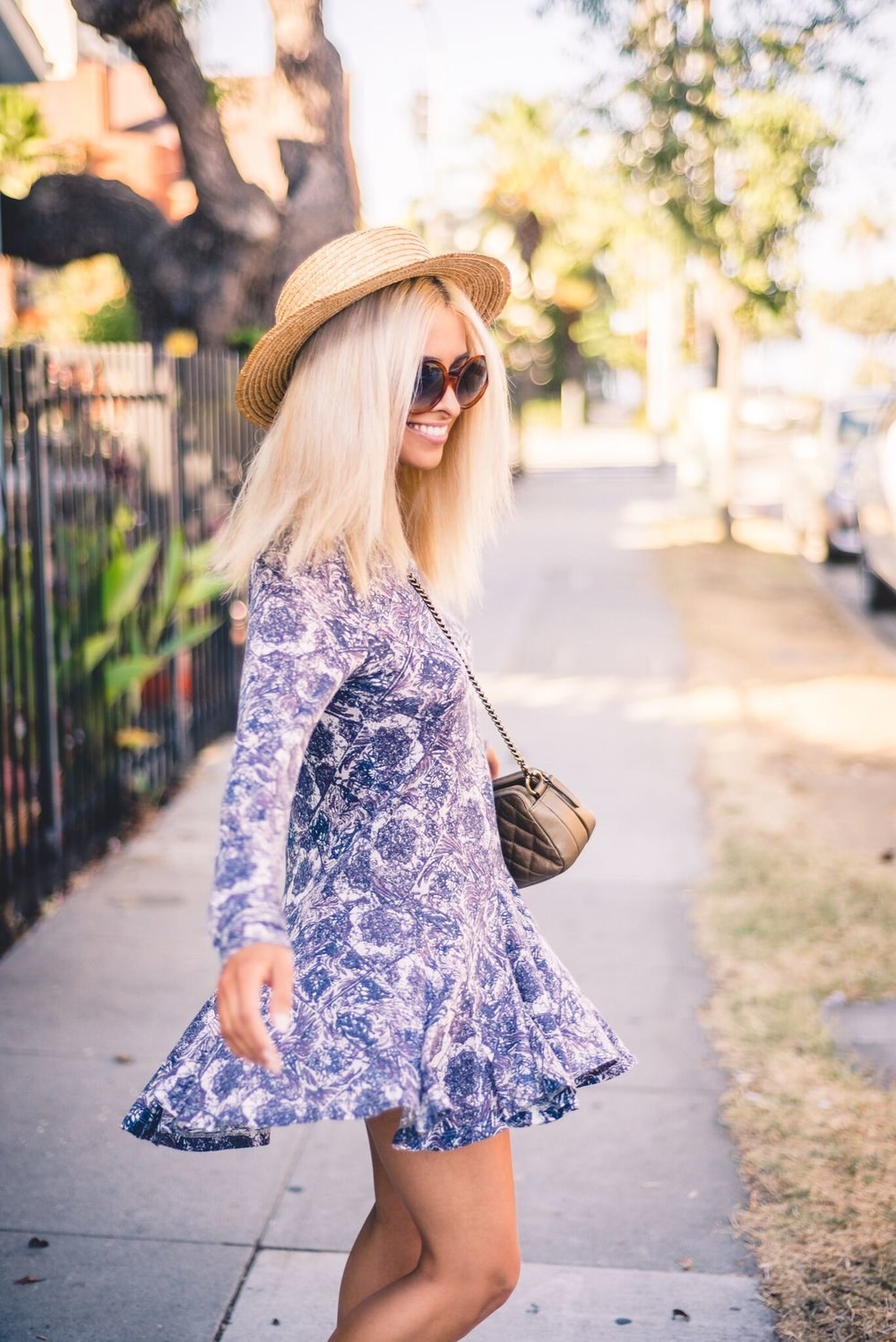 sundress_freepeople dress_savvy javvy_santa monica_la blogger_best la fashion blogger_icy blonde hair_blonde lob_vintage boat hat_chanel bag_chanel camera bag_selwyn ramos