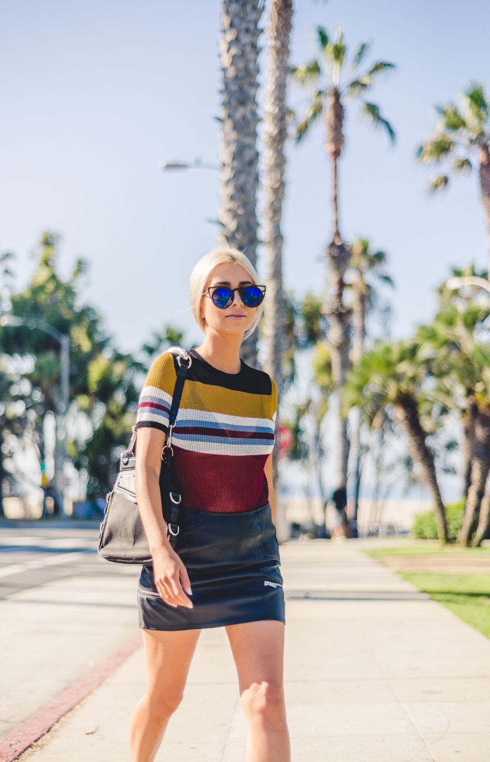 striped top_mesh top_savvy javvy_la fashion blogger_street style_ysl bag_saint laurent bag_vintage designer bags_tom ford bag_leather skirt_icy blonde hair_selwyn ramos_journey with javvy