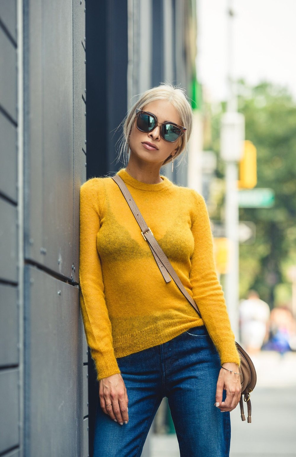simon miller sweater_barneys_ marigold sweater_yellow sweater_cross earrings_fringe bottom denim_revolve_icy blonde hair_fendi sunglasses_cat eye sunglasses_chloe bag_chloe marcie mini