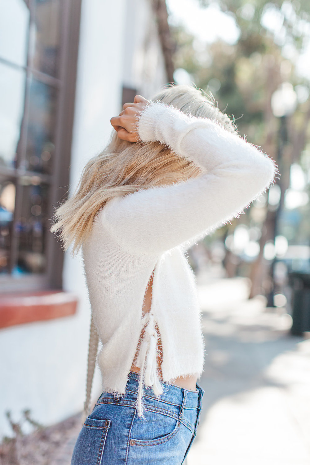cozy sweater_cut out sweater_high waisted denim_fluffy sweater_icy blonde lob_icy blonde hair_wavy lob hair_tom ford blush sunglasses_tan booties_elle a boutique_laguna beach_savvy javvy_oc fashion blogger_la fashion blogger