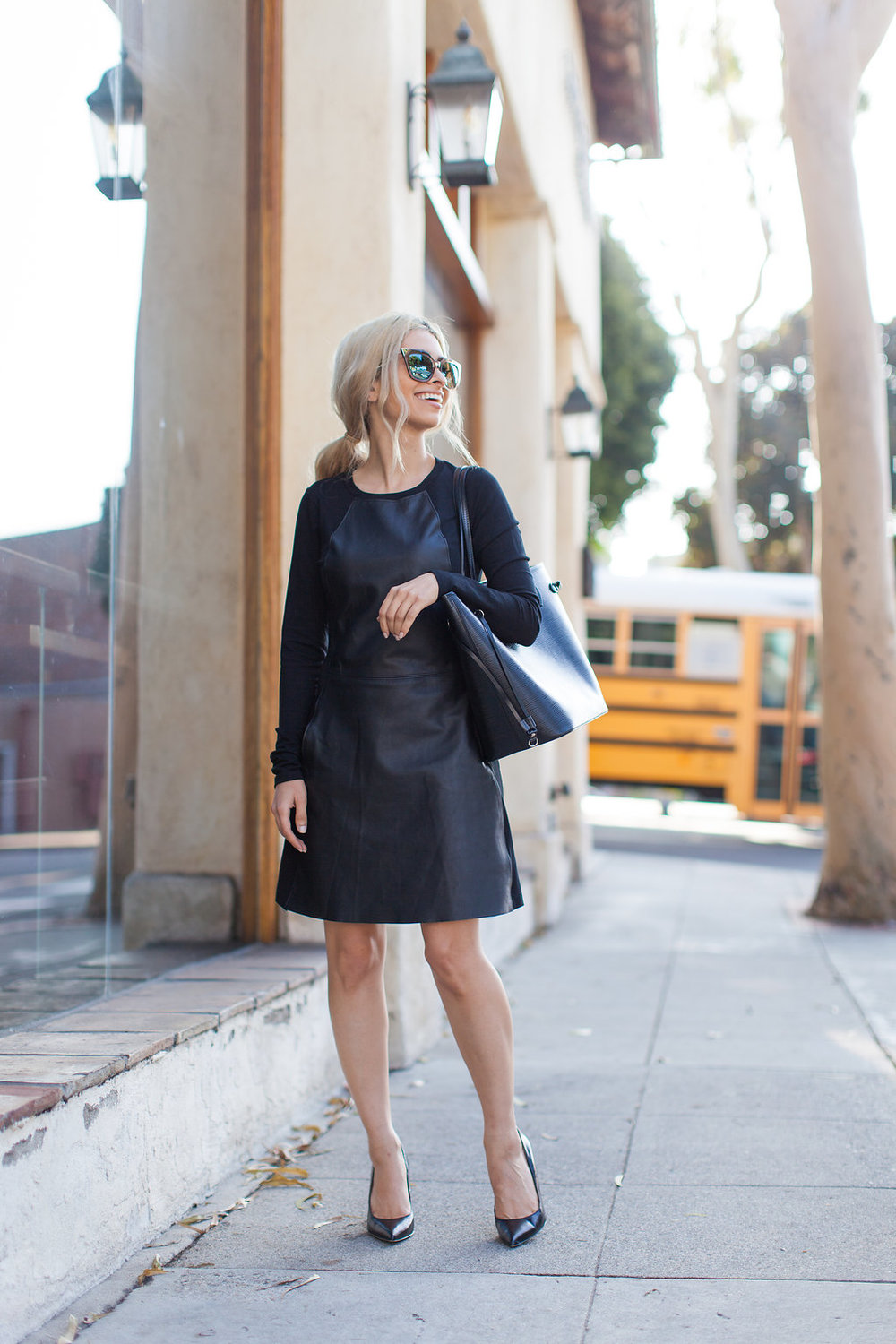 savvy javvy_work dress_best work dress_comfortable work wear_corporate fashion_michael stars_fendi sunglasses_sam edelman heels-Louis Vuitton bag_icy blonde hair_blonde lob_ponytail style