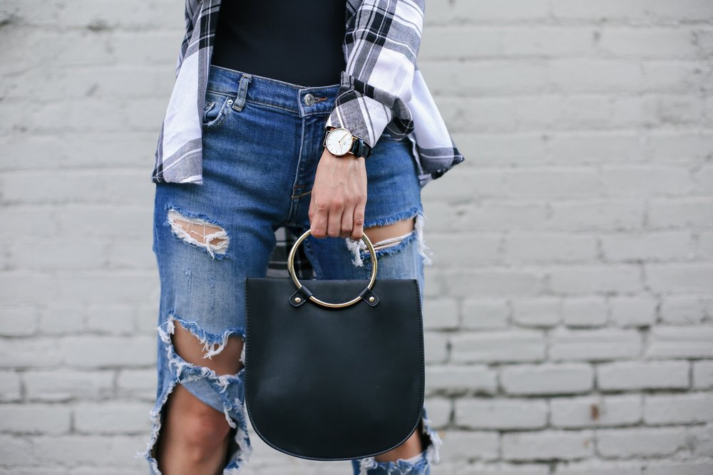 distressed jeans_ripped jeans_zara ripped jeans_alexander wang bodysuit_rails la flannel top_revolve clothing_windsor store_flatform shoes_metal hardware purse_fendi sunglasses_icy blonde lob_kim kardashian blonde hair