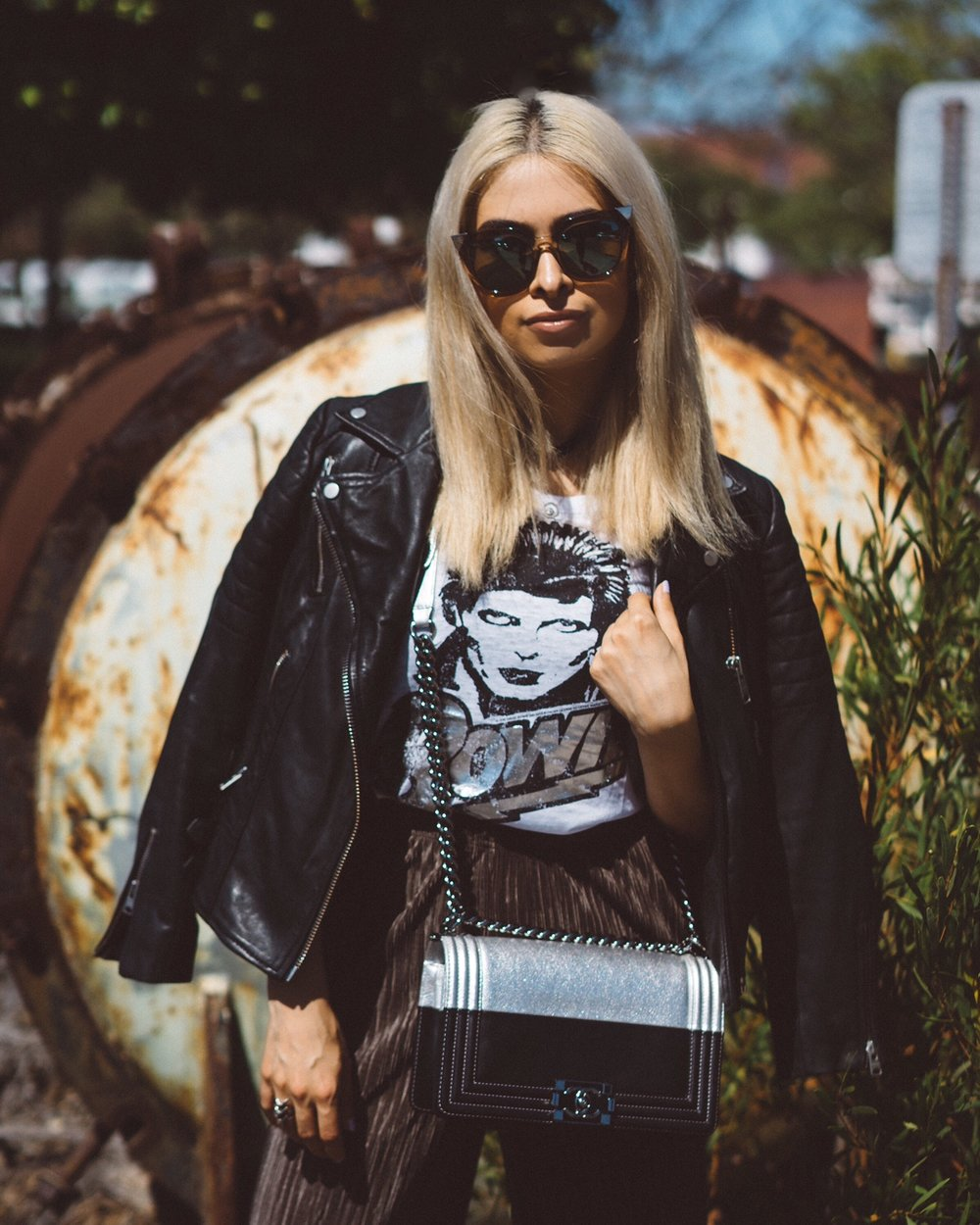 edgy style_allsaints leather jacket_allsaints papin jacket_savvy javvy_la fashion blogger_oc fashion blogger_best la fashion bloggers_icy blonde hair_kim kardashian blonde hair_kylie jenner blonde hair_chaser the brand tee_topshop culotte pants_chanel bag_pointed toe leather booties