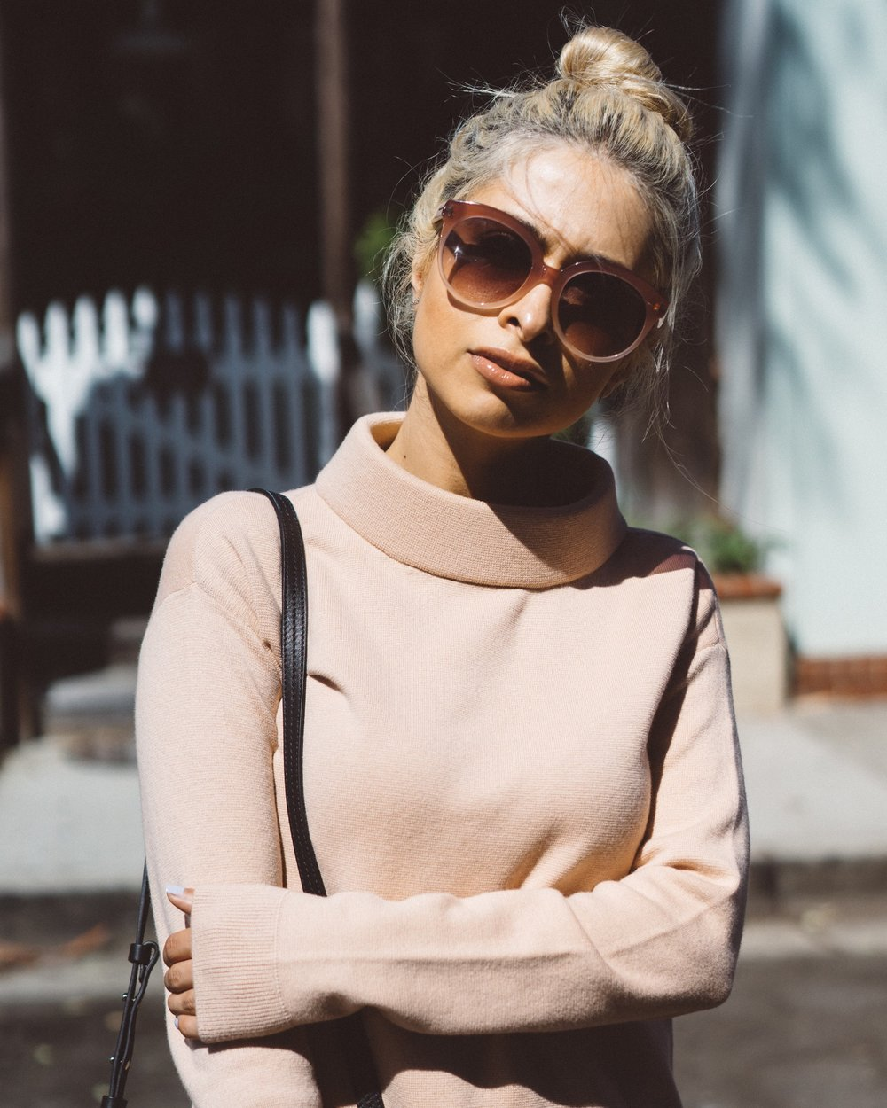 boatneck sweater_blush colored sweater_chloe faye bag_black chloe faye bag_ping sunglasses_blush colored sunglasses_tom ford sunglasses_faux leather pants_pointed toe black booties_savvy javvy_la fashion blogger_oc fashion blogger_best la fashion bloggers