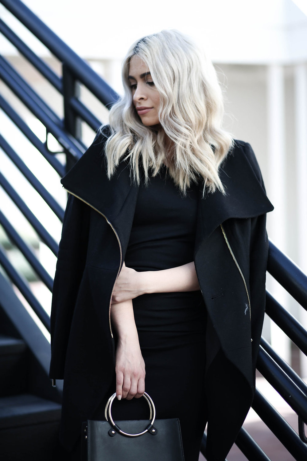 black peacoat_french connection coat_la style_california girl style_icy blonde hair_blonde lob_loose waves_michael stars dress_vince camuto booties
