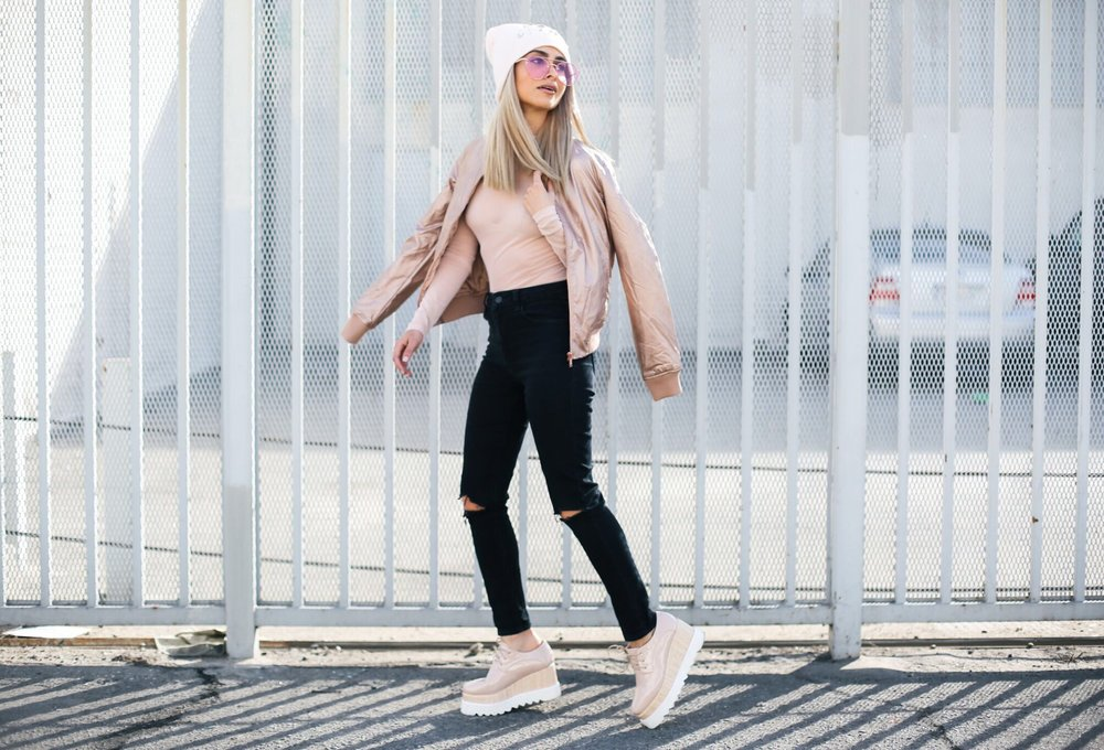 savvy javvy_blush tones_rose goald jacket_faux leather jacket_pink ladies jacket_zero uv glasses_pink sunglasses_flatforms_platform sneakers_sheer top_pink beanie_icy blonde hair_blonde lob_kim kardashian blonde