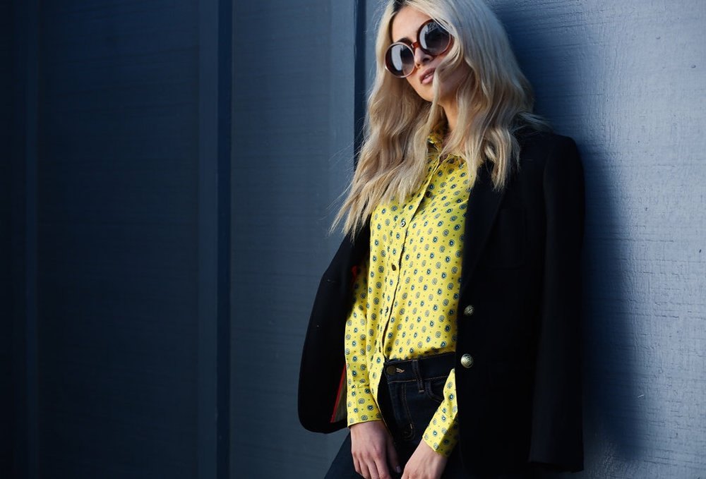 banana republic_silk shirt_yellow button up_blonde girl_blonde blogger_icy blonde hair_kim kardashian blonde_kylie jenner blonde_lauren conrad hair_mules_topshop_jcrew_tom ford_pistola denim