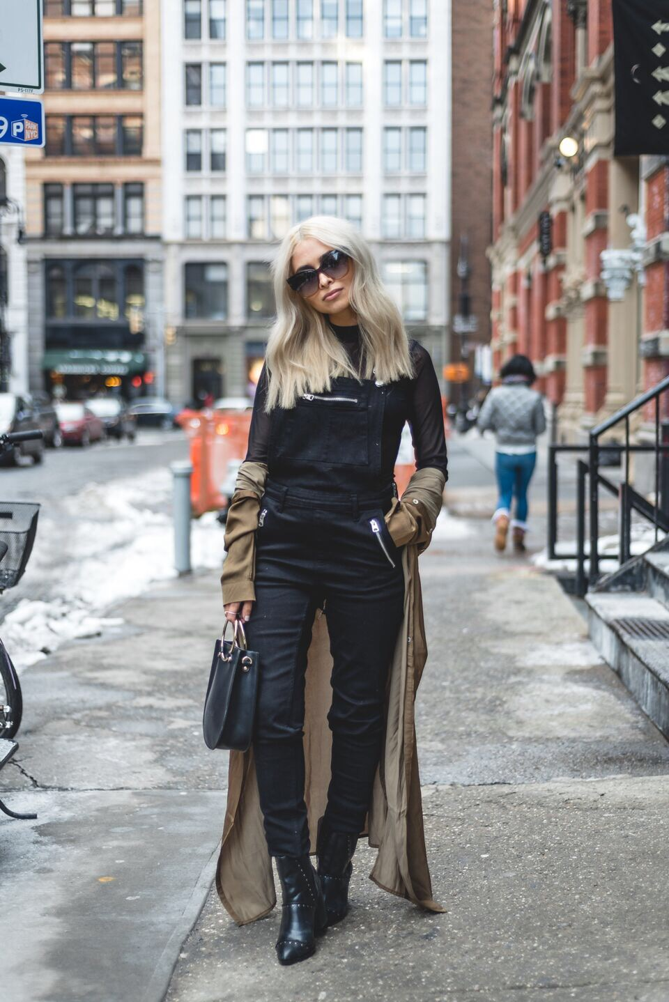 nyfw_streetstyle_nyfw streetstyle_nyfw bloggers_blonde blogger_icy blonde hair_black overalls_sheer black top_lulus_tom ford sunglasses_soho nyc