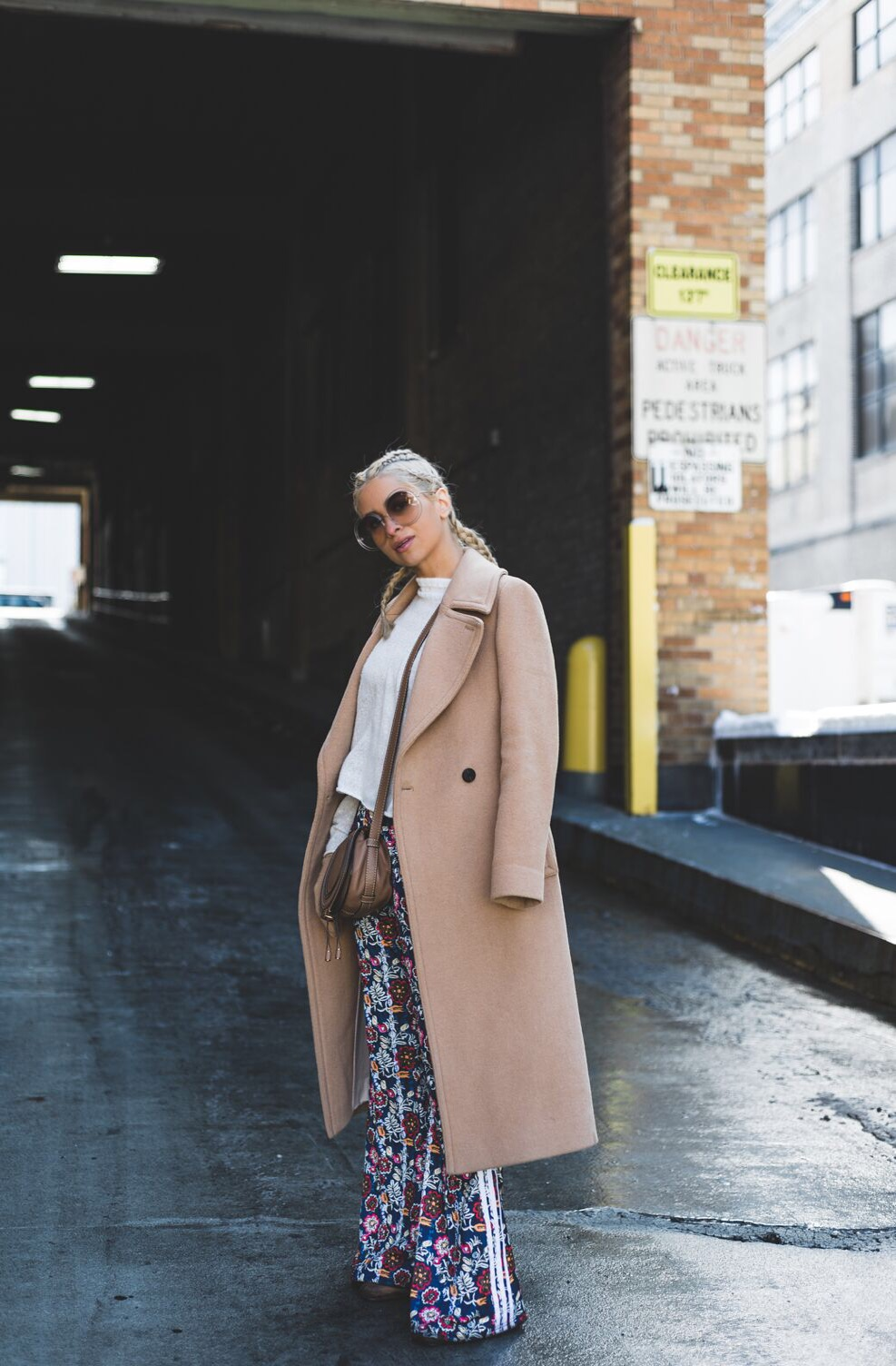 athleisure_adidas pants_printed adidas pants_chloe sunglasses_braided hair_corn rows_tan peacoat_blonde lob_blonde blogger
