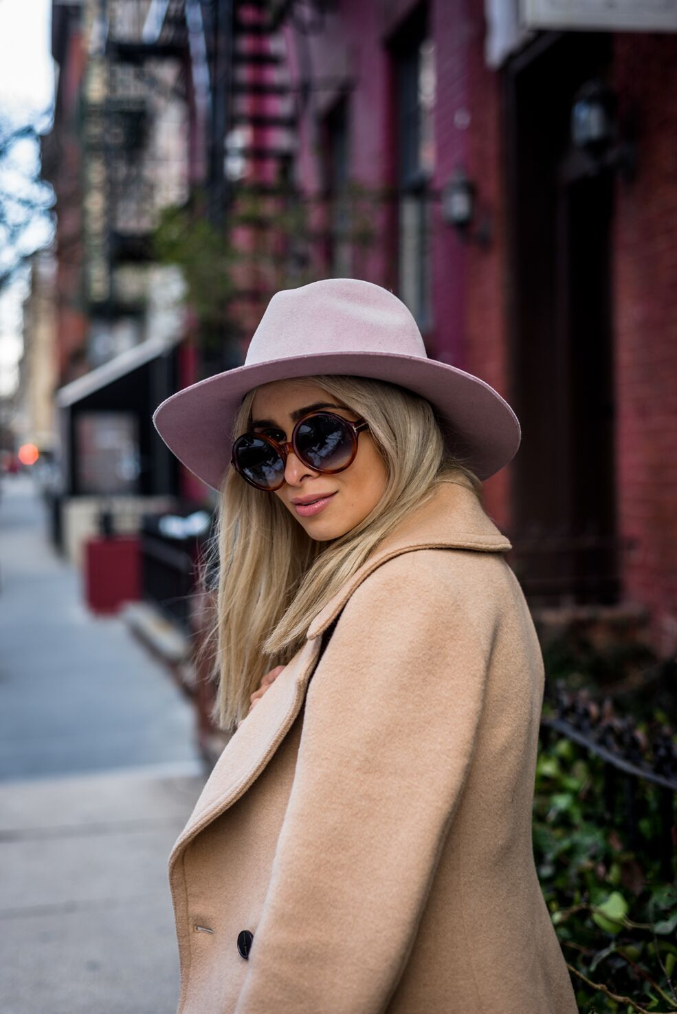 international womens day_womens march_womens march nyc_savvy javvy_nyc fashion blogger_nyc streetstyle_pink dress_blush dress_pink hat_camel coat_camel pea coat_tan slides_tan mules_west village