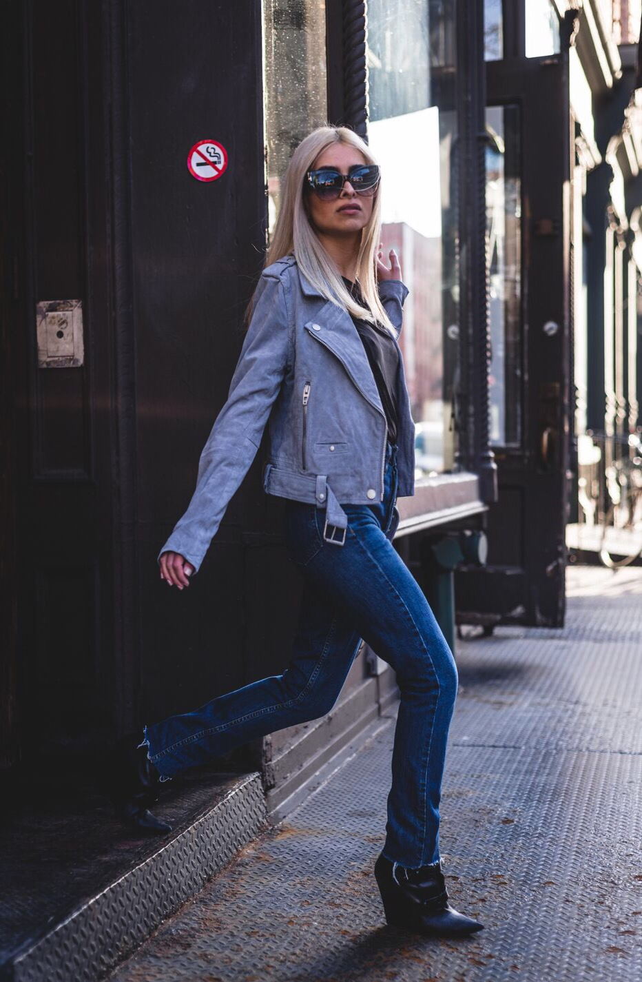 redone jeans_shop redone_savvy javvy_denim_high waisted jeans_tom ford_blank nyc suede jacket_gray suede jacket_bebe stores_bebe shirt_black wedge booties