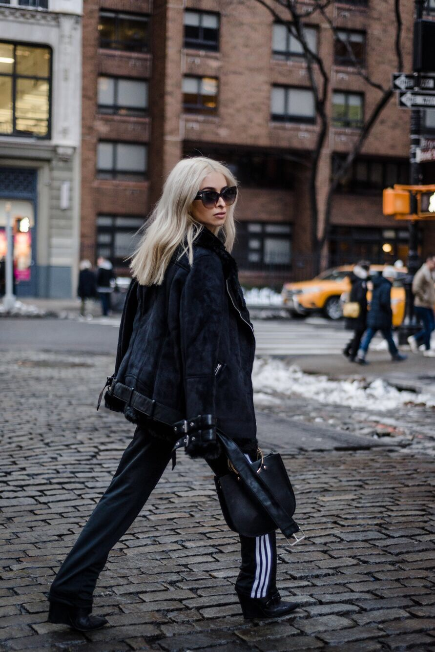 athleisure_adidas pants_black wedge booties_barbara bui booties_ruffled white blouse_tom ford sunglasses_acne shearling coat_black shearling coat_blonde lob_blonde blogger