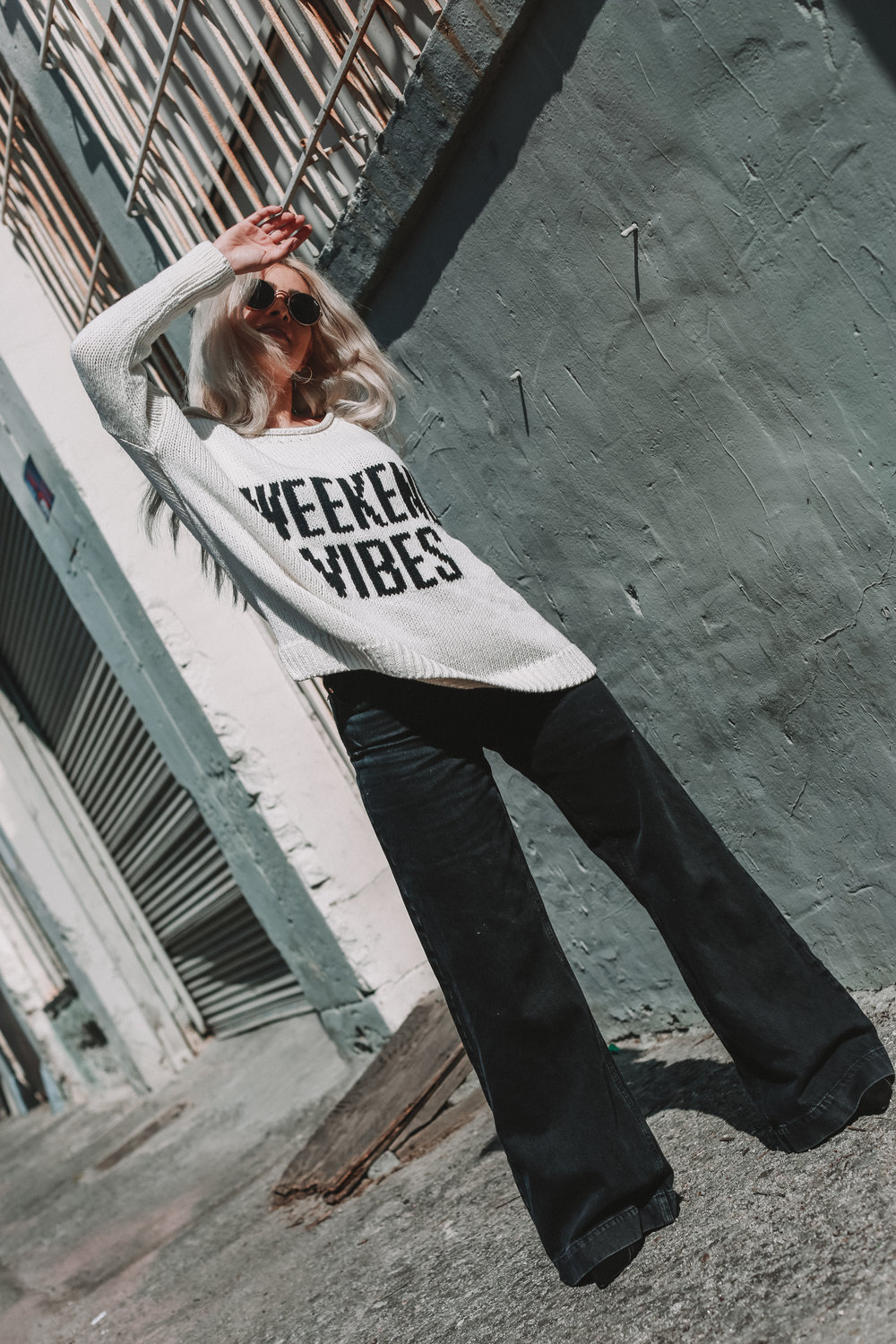 mdw sale_river island_weekend vibes_cozy sweater_cozy sweatshirt_wide legged pants_blonde blogger_blonde hair_icy blonde hair_icy blonde blogger_la