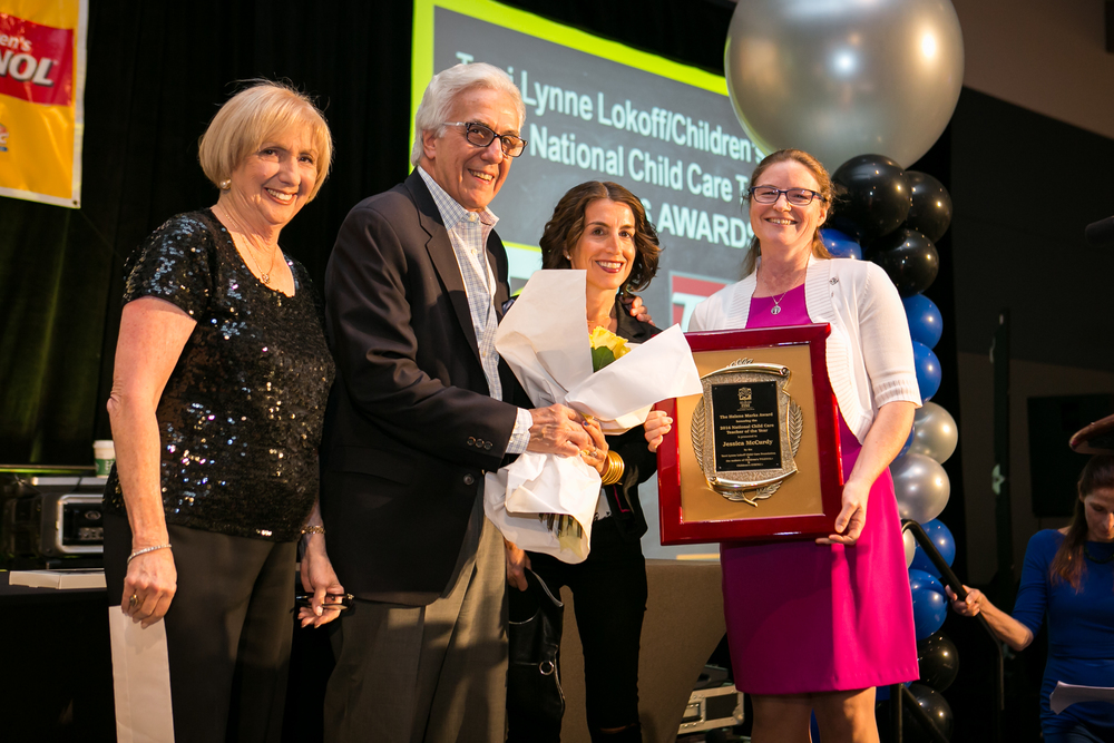 Helene Marks Award recipient Jessica McCurdy of Bowdoin College Children's Center, Brunswick, ME (far right) is the National Child Care Teacher of the Year. TLLCCF Founder Kay Lokoff,  and Richard and Jaime Marks presented Jessica with the award.