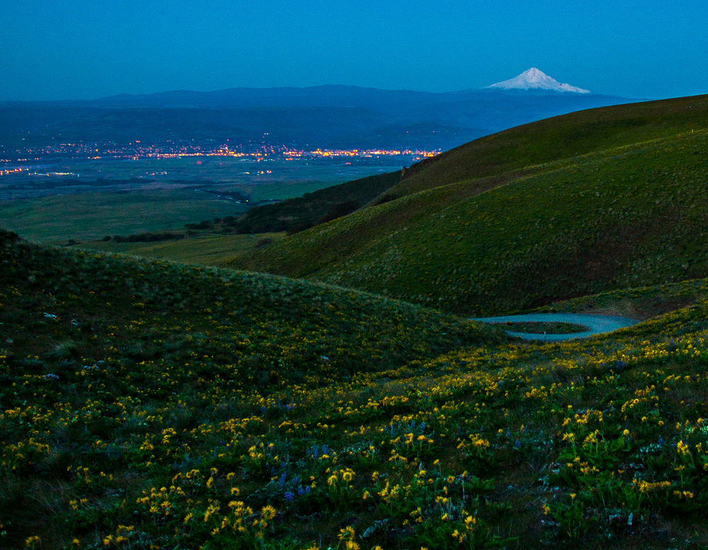 This is taken from Stacker Butte on a (VERY) early morning this spring just before sunrise looking down on The Dalles and with Mount Hood in the distance. Great 360-degree views from the top and easy-ish hike (walk.)